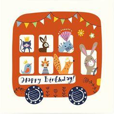 Animal Bus Kids Birthday Card by Whistlefish Kids Birthday Cards, Happy Birthday, Easy Art Projects, Animal Birthday, Birthday Greetings, Birthday Wishes, Cute Illustration, Cute Art, Art For Kids