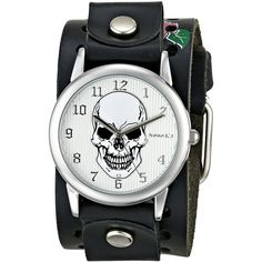 Nemesis Punk Rock Collection Silver Mystery Skull Leather Cuff Band... (€34) ❤ liked on Polyvore featuring jewelry, watches, leather band watches, leather cuff wrist watch, water resistant watches, cuff watches and skull watches