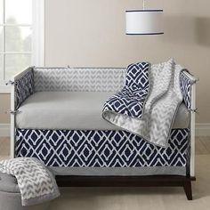 Modern Argyle Patterns Navy & Gray Baby Boys Nursery Crib 3 Piece Bedding Set