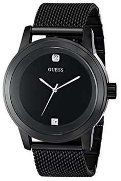 Men's Wrist Watches - GUESS Mens U0297G1 DiamondAccented BlackMesh Watch >>> Visit the image link more details.