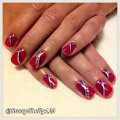 Independence Day Nail Art! 4th of July patriotic manicure. Stars  Stripes with Gelish gel polish.