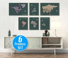 33 best world map wall gallery sets images on pinterest map wall world map set of 6 frames large world map detailed by archtravel gumiabroncs Image collections