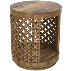 Dot & Bo Revolver Wood Side Table ($350) ❤ liked on Polyvore featuring home, furniture, tables, accent tables, table, end table, round occasional table, round wooden table, round accent table and round wood end table