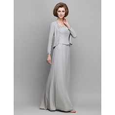 Sheath/Column Mother of the Bride Dress - Silver Floor-length Long Sleeve Chiffon – USD $ 119.99