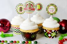 Ugly Christmas Sweater Party Printable Cupcake Wrappers and toppers. These are SO cute for an Ugly Sweater party!