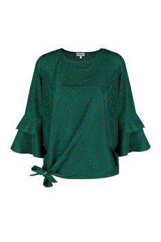 Camisa verde Nudo TERIA YABAR Otoño Invierno 2019 2020 Bell Sleeves, Bell Sleeve Top, Tops, Women, Fashion, Green Shirt, Fashion Blouses, Polka Dots, Shirts
