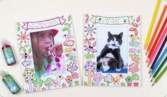 Det här paketet innehåller två fina fotoramar med förtryckta figurer på ramen. Beställ på: http://creativekidz.se/photo-frame. Creative Kidz - Pyssel för barn