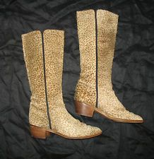 VINTAGE MAUD FRIZON LEOPARD PRINT FUR LEATHER WESTERN STYLE BOOT ITALY 37