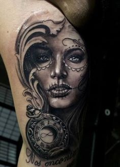 Day of the Dead Tattoos - 101 most gorgeous and haunting tattoos you've ever seen around Day of the Dead. Known a 'Mexico's Halloween.' Amazing tattoos!