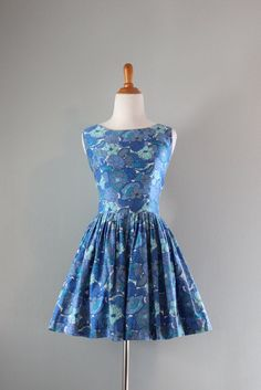 Vintage Dress / 1950s Mini Dress / 50s Full Flouncy by HolliePoint