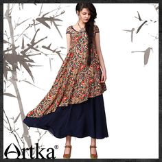 Artka® Women's Mantingfang Series Spring 2015 / National Trend O-Neck Short Sleeve Double A-Line Contrast Colour Loose Skin Friendly Cotton Dress LA11642X Retail: GBP £105.00 Promotion Price / GBP £66.50 Visit Our Ebid Store : http://pierrette-new-store2.ebid.net/