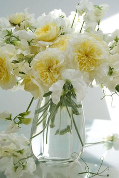 royal white sweet peas + pilgrim roses