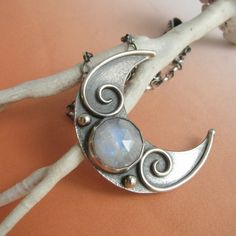 Crescent Moon Necklace, Rainbow Moonstone Necklace, Artisan Metalsmith Jewelry, Rainbow Moonstone Jewelry, Gemstone Sterling Silver Necklace