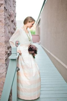 Striped skirt and top for wedding dress
