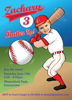 Baseball Birthday Party Invitation  by SandyFordDesign on Etsy, $15.00