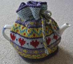 Ravelry: Hearts Fairisle Tea Cosy pattern by Sian Brown Knitwear Design