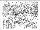 Download de kleurplaat Jan en Noortje twee parapluutjes