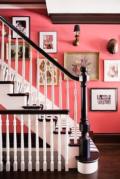 Walls coated in Benjamin Moore's Cinco de Mayo, a Persian rug, a striped staircase runner, and a cache of vintage art marry the bohemian and preppy strains of the home's aesthetics. Interior Design Inspiration, Home Decor Inspiration, Decor Ideas, Design Ideas, Design Design, Hall Design, Wall Ideas, Design Projects, Foyer Decorating