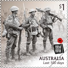 Stamps Australia 2019 - Centenary of WWI: 1918 - Australia Post - Stamp: Last 100 days Anzac Soldiers, Australian Painting, Postage Stamp Art, Anzac Day, First Day Covers, World War One, Stamp Collecting, Wwi, History