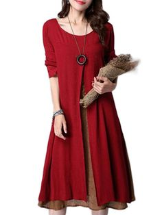 Gracila Vintage Fake Two Piece Ruffles Patchwork Long Sleeve Loose Dress