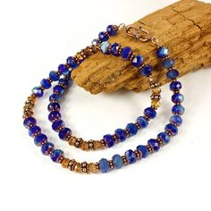 Dazzling and sparkly! Czech Glass, Swarovski Crystal and Copper Bead Necklace designed and handmade by SolanaKaiDesigns
