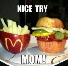 Fun foods...I think I will do a real cheeseburger and make my apple fries :) like these :)