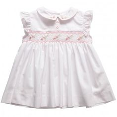 ABELLA  BABY GIRLS WHITE SMOCKED EMBROIDERED DRESS