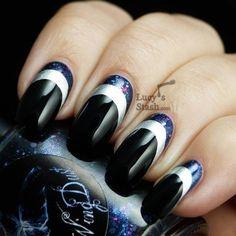 Black and silver moon mani. #nailart #nails #mani #polish
