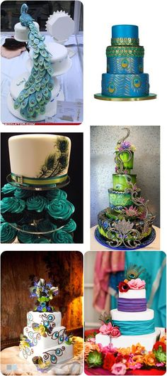 peacock wedding cakes designs | Peacock wedding centerpieces