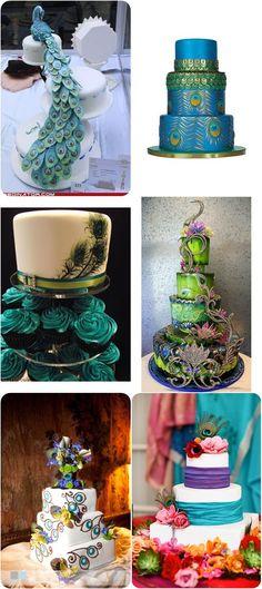 Gâteaux sur le thème du paon, de toute beauté wild peacock cakes #weddingcakes #weddinginpiration #peacockwedding