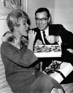 Hollywood producer Ross Hunter was born today 5-6 in 1920. He produced a lot of box office hits like Airport in 1970, Tammy and the Bachelor, Pillow Talk , Midnight Lace with Doris Day and Rex Harrison and The Flower Drum Song. Here he is with his Pillow Talk star, Doris Day. Hunter passed away in 1996.
