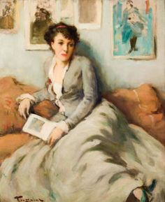 Untitled (femme lisant). Fernand Toussaint (Belgian, 1873-1955). Oil on panel. Toussaint's admiration of impressionism, coupled with his respect for the traditional 18th century French and English portraitists, combine to give his work a very...