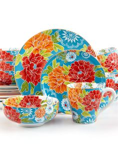 222 Fifth Dinnerware, Huang Blue 16 Piece set - Casual Dinnerware - Dining & Entertaining - Macy's