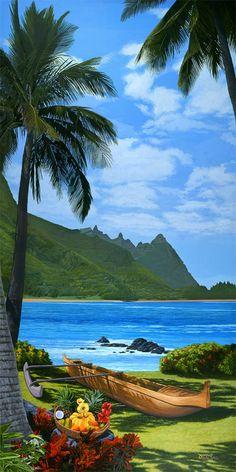 Tropical Beaches, Tropical Art, Tropical Paradise, Hawaiian Art, Paradise On Earth, Beach Art, Tahiti, Nature Pictures, Beautiful Beaches