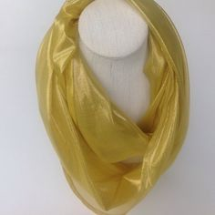 Check out Gold Yellow Silk Ifinity scarf, Yellow cowl scarf, Cirlce scarf, handmade scarf, Trending gift,  Summer Fashion scarf, Birthday gift, sash on blingscarves