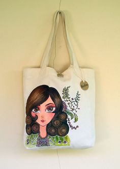 Tote bag, cotton material, Hand painted girl.