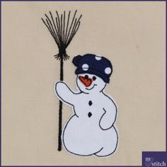 Fransenapplikation Stickdatei Schneemann Freebies, Snoopy, Stitch, Fictional Characters, Art, Snowman, Appliques, Craft Art, Full Stop