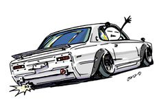 "car illustration""crazy car art""jdm japanese old school ""HAKOSUKA""original cartoon ""mame mame rock""  /  © ozizo""Crazy Car Art"" Line stichersLINE STOREhttps://store.line.me/stickershop/product/1254713"