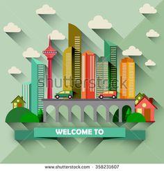 Flat design city vector illustration - stock vector