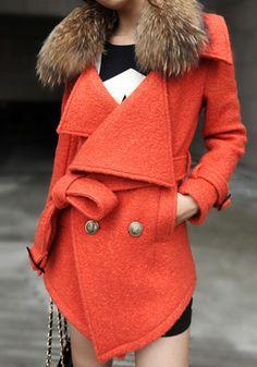Detachable Faux Fur Collar Coat