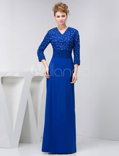 327797a3edd2 Long Sleeves Mother Of The Bride Dress V-Neck Floor-Length Pleats Sequin  Sheath