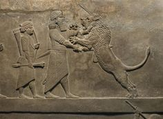 Assyrian Art - Assurbanipal hunting lions (fragment), a palace relief from Ninive, 7th century B.C.