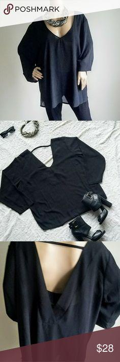 ELOQUII black v neck blouse ELOQUII V neck blouse Open back Polyester Size 22 Eloquii Tops