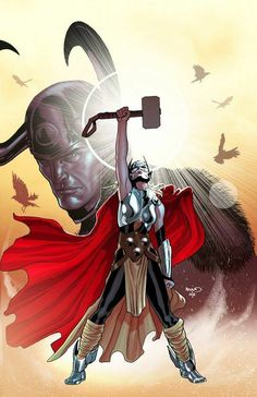 "paulrenaud: ""Feel the mighty power of Thor! I was very happy to get a chance to draw the new Thor. Can't wait to read the new series. I love the mystery surrounding this new character. Marvel Comics, Fun Comics, Marvel Art, Marvel Heroes, Batwoman, Nightwing, Marvel Comic Character, Comic Book Characters, Marvel Characters"