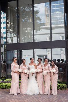long pink bridesmaid dresses idea http://trendybride.net/elegant-nigerian-tampa-florida-wedding/ #trendybride