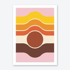 Retro Color Palette, Color Palettes, Wall Art Prints, Fine Art Prints, Lake Art, Rug Inspiration, Inspirational Wall Art, Retro Art, Home Wall Art