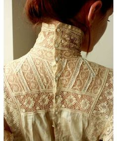 this is inspired by the Victorian era, as it has a high collar and decorative patterns that are possibly hand embroidered. I like this garment because it has many different patterns on it and it has different shades of white and cream