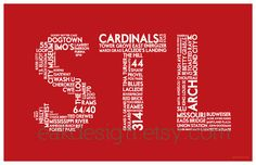 STL Print  11 x 17 Red Poster St Louis MO by eakdesign on Etsy, $16.50