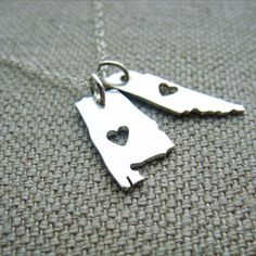Double Micro State or Country pendant in Sterling Silver Made to Order Pick your States or Countries on Etsy, $45.00