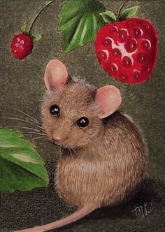 Oh my goodness, so cute! You can buy this print at Reminds me of that book with the mouse, the bear, and the big red ripe strawberry. Cute Mouse Miniature Art by Melody Lea Lamb ACEO Giclee Print Maus Illustration, Illustrations, Art Fantaisiste, Art Mignon, Mouse Pictures, Art Carte, Cute Mouse, Beatrix Potter, Ink Painting